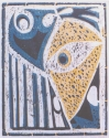 jackie Zagon, Reduction Woodcut, Judaica, mindscape, abstract image depicting the Jewish people in captivity, (thumbnail)