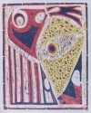 Jackie Zagon. Reduction woodcut, Judaica, abstract, mindscape, describes the Jewish people in captivity. medium gray paper with colors: black, red & yellow. Main image surrounded by bamboo-like border. (thumbnail)