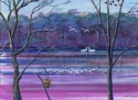 Jackie Zagon, Watercolor, landscape: A winter lakeview at sunset. Between two trees on the nearer shore we see a bent crook with an empty flowerpot. On the partially frozen lake, swans & other birds are resting. Two white birds are coming in for a landi (thumbnail)