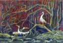 Jackie Zagon, Watercolor: A fanciful lakeside, dusky winter scene. Three Black Crowned Night Herons & five ducks realize that the day is done. Colors: burgundy, golds, neutrals, greens. Frame: thin gold metal . Mat: dark green. (thumbnail)