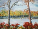 Jackie Zagon, Oil on canvas landscape. In an autumn afternoon setting, two anthropomorphized trees are dancing at the edge of a lake, amidst burning bushes. Impressionistic, high impasto & sgraffito effects. Colors: blue, red. yellow, neutrals. Gallery (thumbnail)