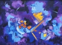Jackie Zagon, Oil on canvas, non-objective, mindscape, Judaica, Old Testament Biblical moment of creation,. The dark background represents the abyss upon which the lighter purples, blues, yellows & oranges burst forth as the light. Saturated color, high i (thumbnail)