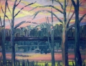 Jackie Zagon, Oil on canvas, winter landscape, expressionist. Anthropomorphic trees appear to dance in celebration of the lakeside sunset. High impasto brushstrokes applied en plein air, in a race with the setting sun. Colors: pink, blue, yellow, neutrals (thumbnail)