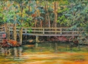"Jackie Zagon, Acrylic on canvas mounted on board. Landscape. A crumbling, wooden bridge spans a narrow river in the woods while a late summer sun is setting. A ""No Entry"" sign prohibits traffic. The transitions represent the time of day, the seasons & th (thumbnail)"