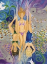 Jackie Zagon, Acrylic on canvas. Fanciful & figurative. A contemporary interpretation of a mythological subject. Unique for the vertical placement of the three sprites dressed in their modern swimwear. Their feet morph into fins. The Klimt-like backdrop (thumbnail)