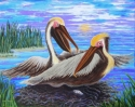 Jackie Zagon, Acrylic on canvas, wildlife, humorous, anthropomorphic. A pair of Brown Pelicans are tending their nest. The female tells the male that it is his turn to sit on the egg. The acquiescent male looks toward the viewer for sympathy. Colors: blue (thumbnail)
