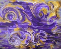 "Jackie Zagon, Acrylic on canvas, non-objective, complementary colors purple & yellow are applied using arabesque lines to express artistic musings. 24"" x 30"". SOLD (thumbnail)"