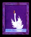 Jackie Zagon, Acrylic on canvas, expressionist. One of four in my Praying Swan series. A male swan is standing in shallow water with wings spread & head & neck spread skyward & beak open in prayer. Colors: purple, blue, white. Original is sold but notecar (thumbnail)