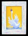 Jackie Zagon, Acrylic on canvas, expressionist. One of four in my Praying Swan series. A male swan is standing in shallow water with wings spread & head & neck stretched skyward & beak open in prayer. Colors: puyellow, blue, white. Original is sold but no (thumbnail)