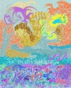 Jackie Zagon, Digital (computer) Art. Abstract, non-objective. Inspired by the ancient Minoan culture. Created in PhotoShop, the original resides on my hard drive. Colors: purples, blues, yellows (thumbnail)