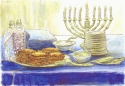 Jackie Zagon, Watercolor with pen & ink. Still life. A Hanukah buffet table with Menorah. Colors: blue, yellow, orange, purple, neutrals. Frame: thin goldtone, metal. (thumbnail)
