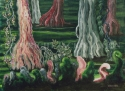 "Jackie Zagon, Acrylic on canvas, fantasy, cypress trees in the swamp put on a show. Colors: magentas, pinks, greens, neutrals. Frame:wood, 2.5"" ,brushed antique gold, linen liner. (thumbnail)"
