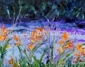 Jackie Zagon, Oil on canvas, landscape, expressionist. Lakeview at sunset seen through orange flowers. Review by New York Times, original SOLD. Giclees & prints available. (thumbnail)