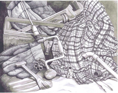 "Jackie Zagon, highly detailed, b&w,masculine, man's gift,  pen & ink, tool box, plumbing pipes, fittings, plaid shirt, leather work gloves, image,  matted & framed 31.5 x 25"" w (large view)"