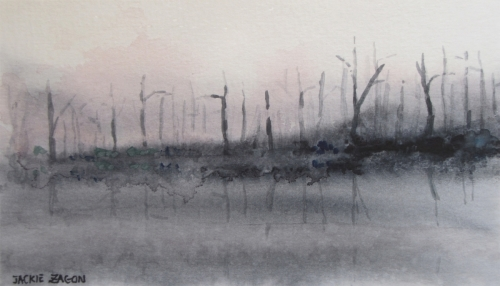 Jackie Zagon, Watercolor landscape. Stark but beautiful image that captures the aftermath of a pine barrens fire at sunset. Colors: neutrals subtle magentas & blue. Frame: thin gold metal. Mat: double white. (thumbnail)