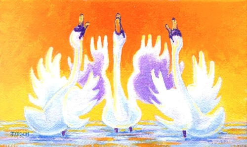 "Jackie Zagon, Acrylic on canvas, expressionist. One of four of my Praying Swan series. Only 3"" h x 5"" w. Three anthropomorphic swans stand in shallow water in an orange sunset. With wings spread, their heads & necks stretch skyward with open beaks as in p (thumbnail)"