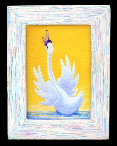 Jackie Zagon, Acrylic on canvas, expressionist. One of four in my Praying Swan series. A male swan is standing in shallow water with wings spread & head & neck stretched skyward & beak open in prayer. Colors: puyellow, blue, white. Original is sold but no (large view)