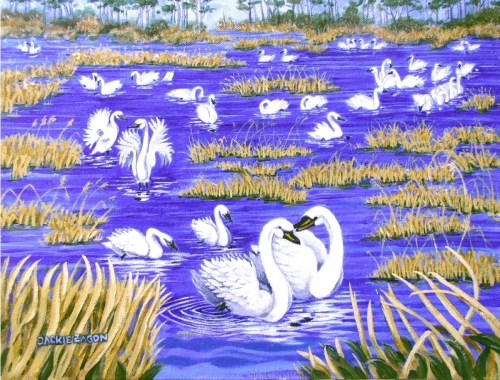 """Jackie Zagon, Acrylic on canvas, wildlife. A flock of Whistling Swans are gathered one morning in a marsh. A male is """"sweet talking"""" a female as the others look on.  Colors: blues, yellows, white.  Frame: 3"""" wide wood, an antique, ornately carved, golf fi (large view)"""