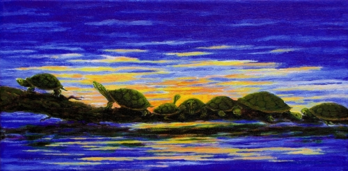 Jackie Zagon, Acrylic on canvas, wildlife. Seven turtles on a log at sunset realize that it is getting late and they must return to wherever turtles go at night. Colors: blues, yellows, orange, green, neutrals. Gallery wrap- no frame. (thumbnail)