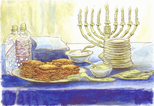 Jackie Zagon, Watercolor with pen & ink. Still life. A Hanukah buffet table with Menorah. Colors: blue, yellow, orange, purple, neutrals. Frame: thin goldtone, metal. (large view)