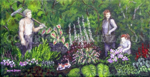 Jackie Zagon, Acrylic on canvas, figurative, gardenscape. A young family & cat working in the shade garden. Gallery wrapped canvas. (thumbnail)