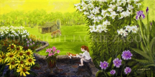 Jackie Zagon, Acrylic on canvas, figurative gardenscape. A girl is surrounded by flowers as she sits on a garden wall & plays with her cat. Gallery wrapped canvas. (thumbnail)
