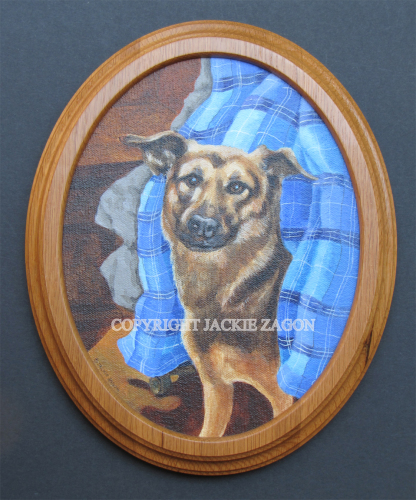 """dog portrait, acrylic on oval canvas, 8 x 10"""" rendered from candid photo supplied by pet dog owner. (large view)"""
