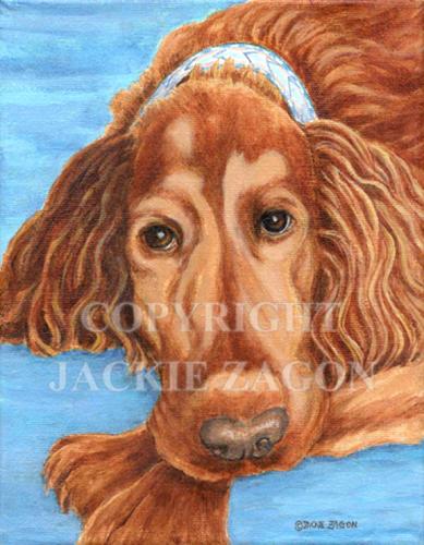 "acrylic on canvas, 8 x 10"" dog  portrait , done from photos supplied, commission. pet portrait, dog portrait, Irish Setter, commission (large view)"