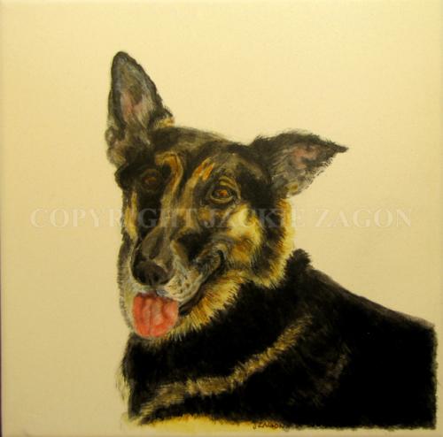dog, pet, portrait, commission, ceramic tile,   (large view)