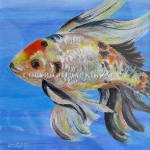 acrylic on yupo paper.  Painted from artist's fish while he was in a tank being treated for illness. Reference photos were also used when Rudy was returned to pond. (large view)
