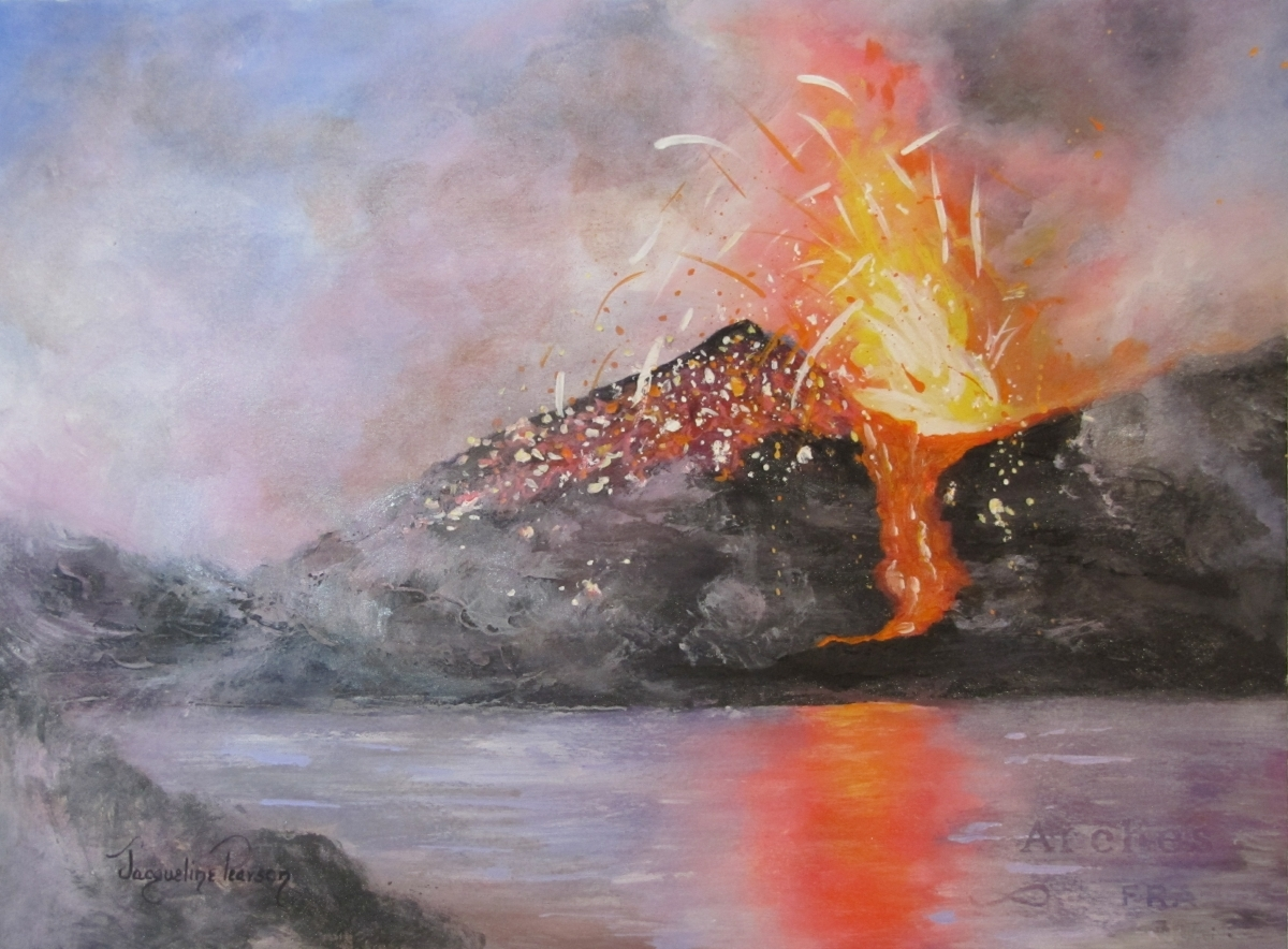 Colorful, landscape, seascape, volcano, painting, volcanic eruption, timely event, Hawaii, Hawaiian volcanoes, abstract art, fire, eruption, Colorado, Colorado Springs, Mountains, explosives, (large view)