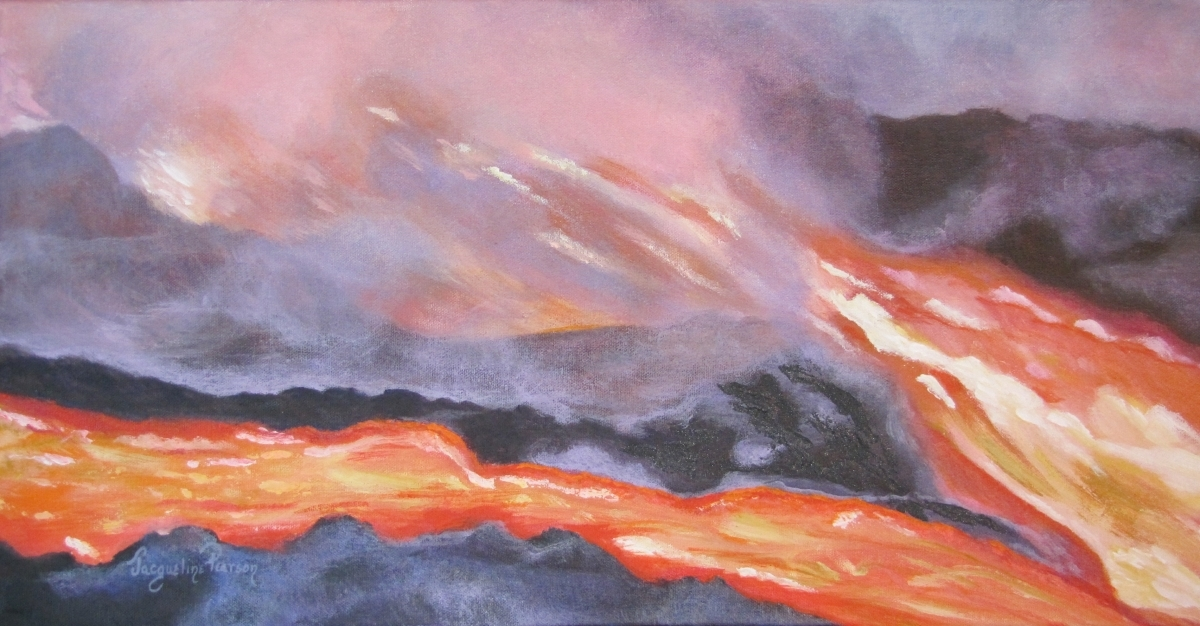 A deadly event and capture in acrylic paint, the eruption of  Kilauea and its reslutant flow of lava in the Hawaiian Islands. (large view)