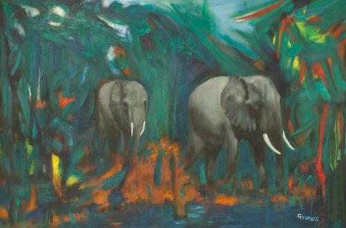 Strolling elephants