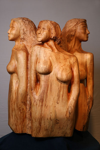 Sculpture-Wood-Women At The Well