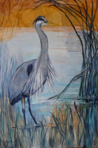 Wading Great Blue Heron
