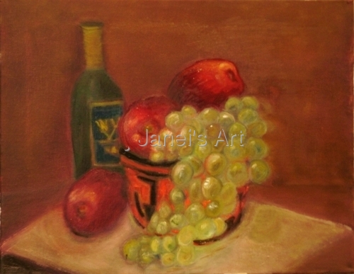 A Still Life - Wine with Grapes and Apples