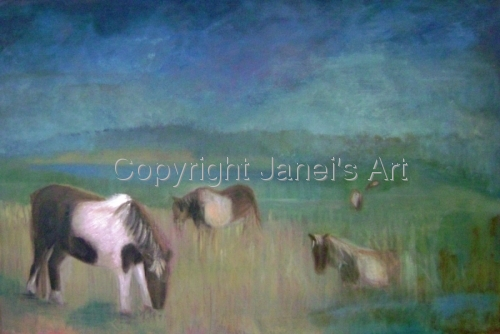 Original Painting: Ponies at Assateague Isle by Janei