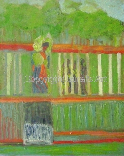 Lady at the Fence - A Study in Greens