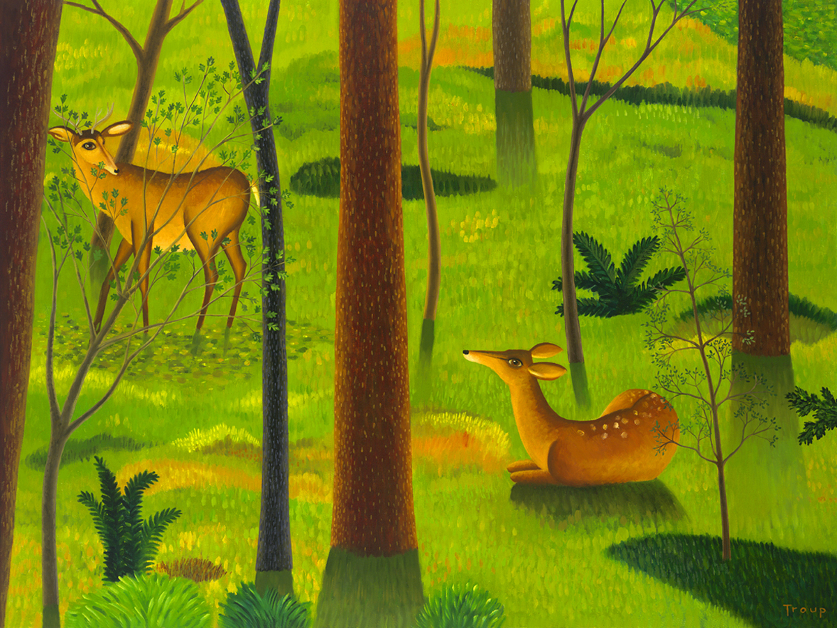 WOODS WITH DEER (large view)