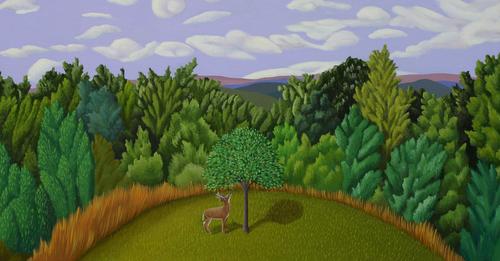 DEER & APPLE TREE (large view)
