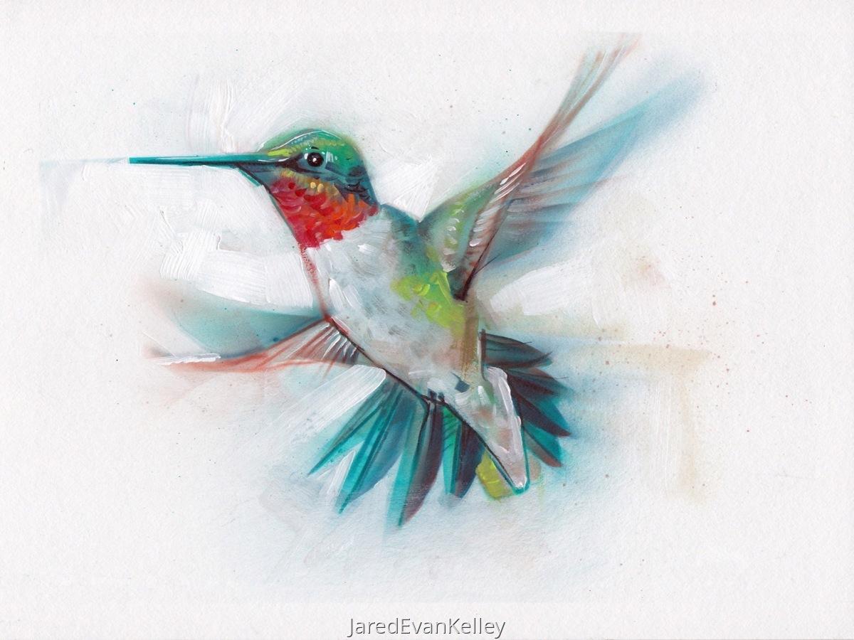 Animal Paintings: Ruby-Throated Hummingbird by Jared Kelley
