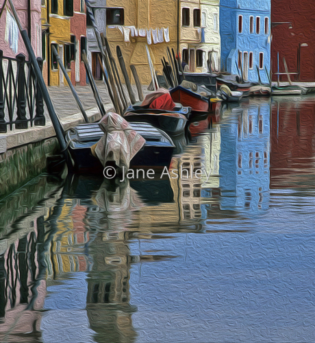 Burano Reflections by Jane Ashley