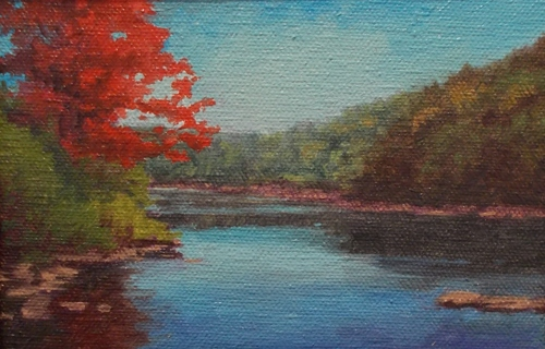 River with Red Tree