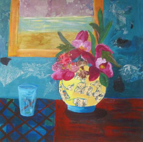 Yellow Vase with Iris