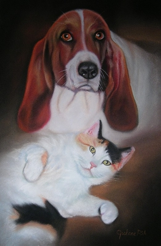 Painting--Pastels-AnimalsBeau and Momma Kitty
