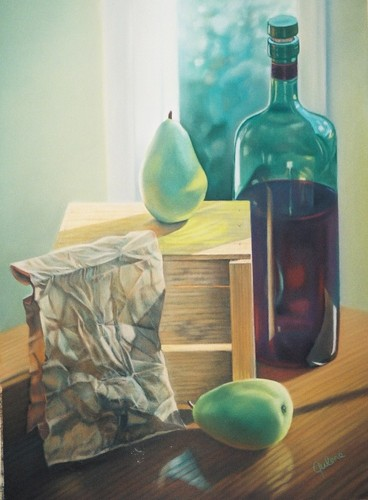 Painting--Pastels-Still LifeStill Life with Paper Bag and Pears