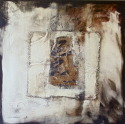 Oil painting and collage in black and white, an invocation of the essence of an individual, a presence (thumbnail)