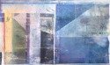 Oil on Canvas, with canvas relief, geometric, invocation of the moon rising in the early evening sky (thumbnail)