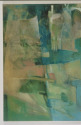 Oil on Canvas, vertical abstract in tones of green and tourquoise (thumbnail)
