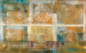 Mixed media print on canvas utilizing bronzing powders and oriental motif, caligraphy repetitive printmaking. (thumbnail)